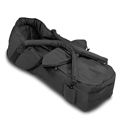 Hauck 2 in 1 Tragenest - Capazo blando 2 en 1, tejido suave y transpirable, lavable a mano, apto para sillas de paseo con arnés de seguridad, medidas de 75 x 35 x 20 cm, color negro