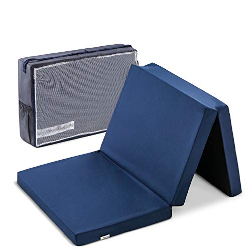 Hauck Sleeper 60 x 120 cm, colchón de espuma 6cm de grosor, para cunas de viaje, plegable en 3 partes, incluida bolsa de transporte, Navy (azul) (H-89090-EN-000-T06)