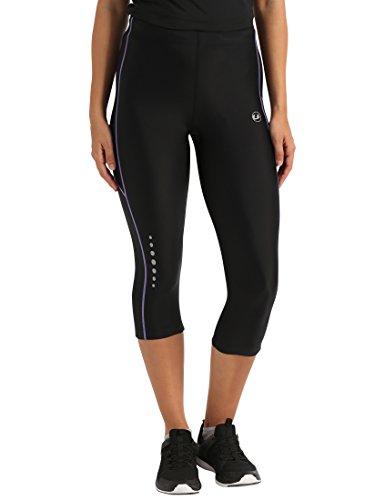 Ultrasport, Pantalones deportivos 3/4 para Mujer, Negro/Lila, S