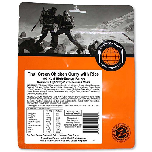 Expedition Foods Thai Green Chicken with Rice High Energy Serving Curry de Pollo Verde tailandés con arroz (800kcal) -Comida Seca congelada, Unisex, Naranja, Talla única