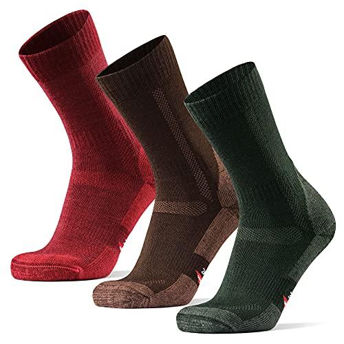 Calcetines de Senderismo y Trekking de Lana Merina para Hombre, Mujer y Niños, Pack de 3 (Multicolor: Marrón, Verde, Rojo, EU 39-42)